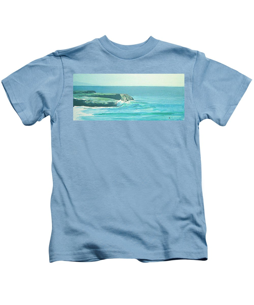 Its Beach Kids T-Shirt featuring the painting Its Beach by Peter Forbes