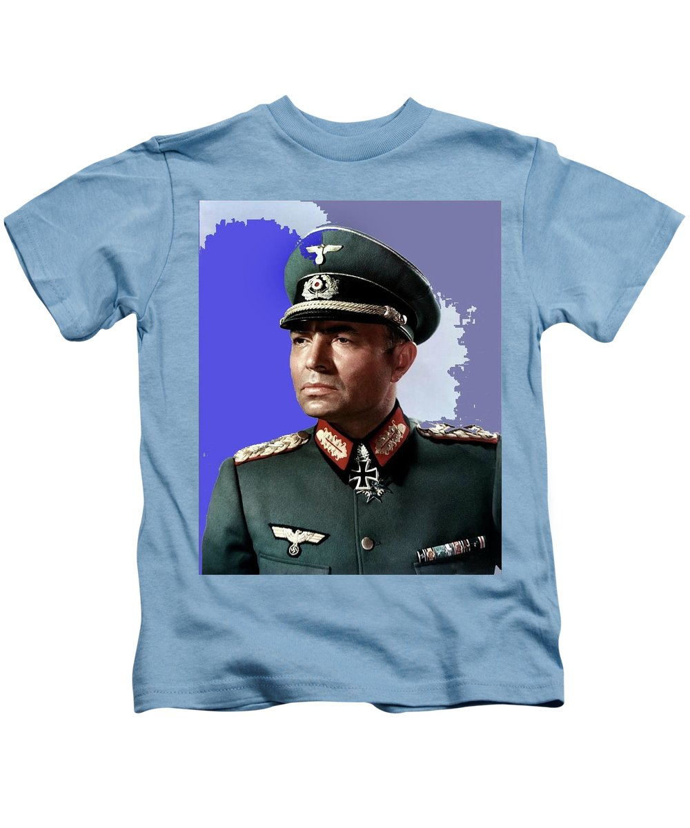 James Mason As Erwin Rommel Publicity Photo The Desert Fox 1951 Kids T-Shirt featuring the photograph James Mason As Erwin Rommel Publicity Photo The Desert Fox 1951 Color Added 2016 by David Lee Guss