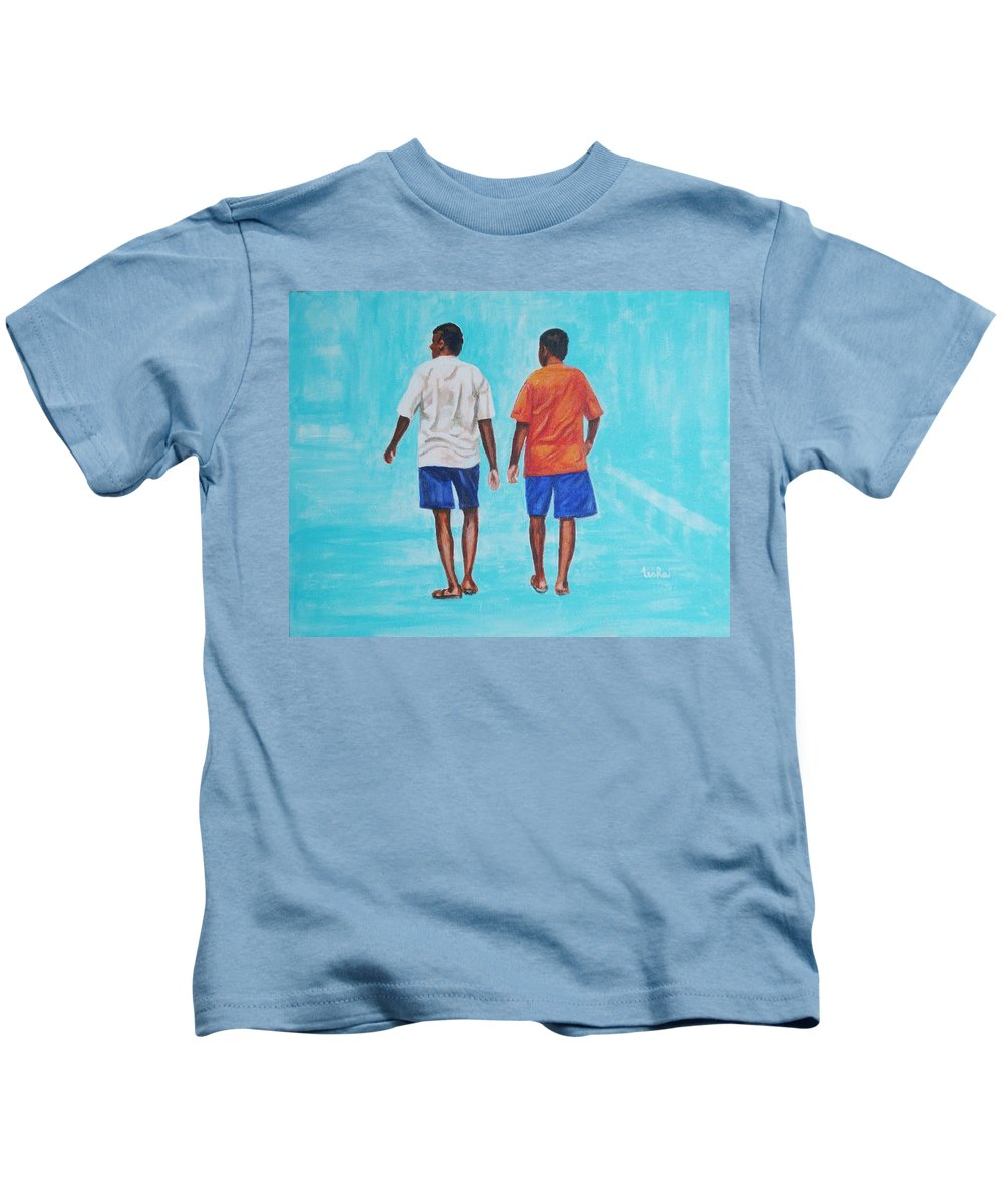 Kids T-Shirt featuring the painting Jay Walkers by Usha Shantharam