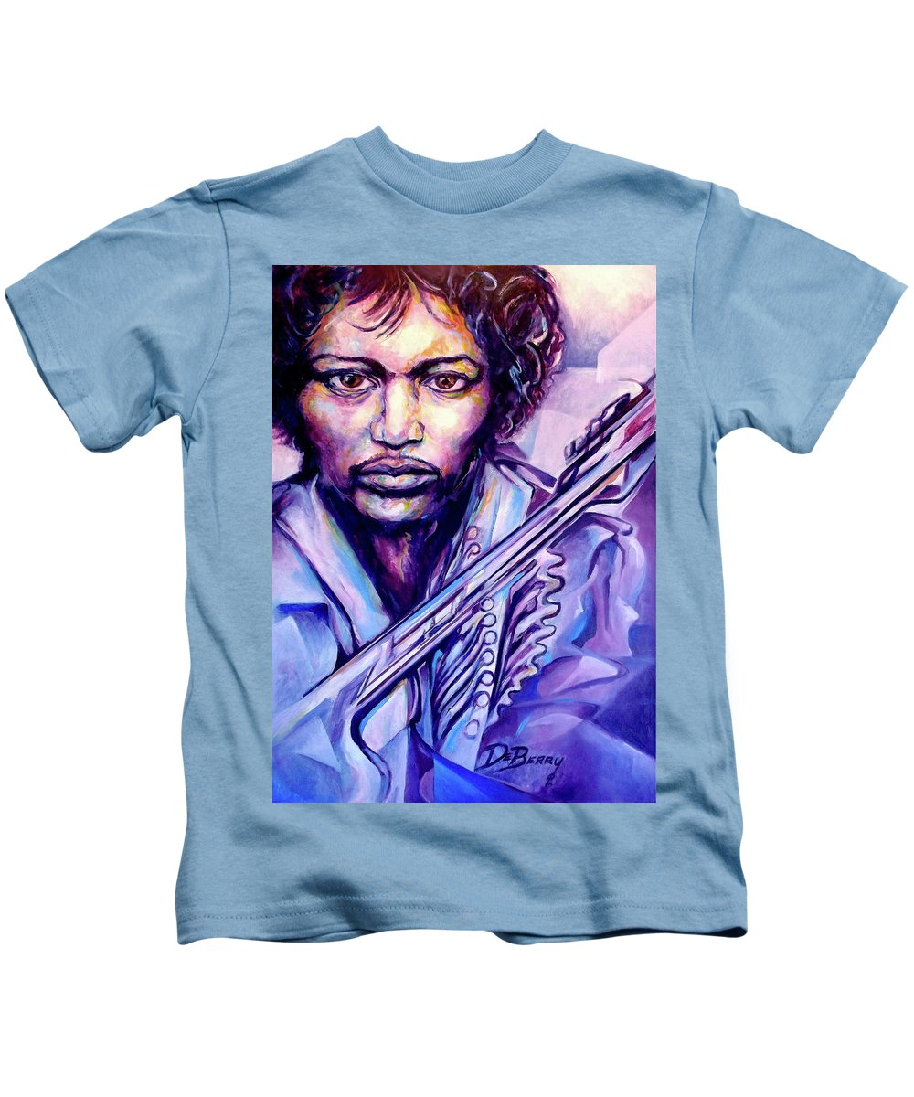 Kids T-Shirt featuring the painting Jimi by Lloyd DeBerry