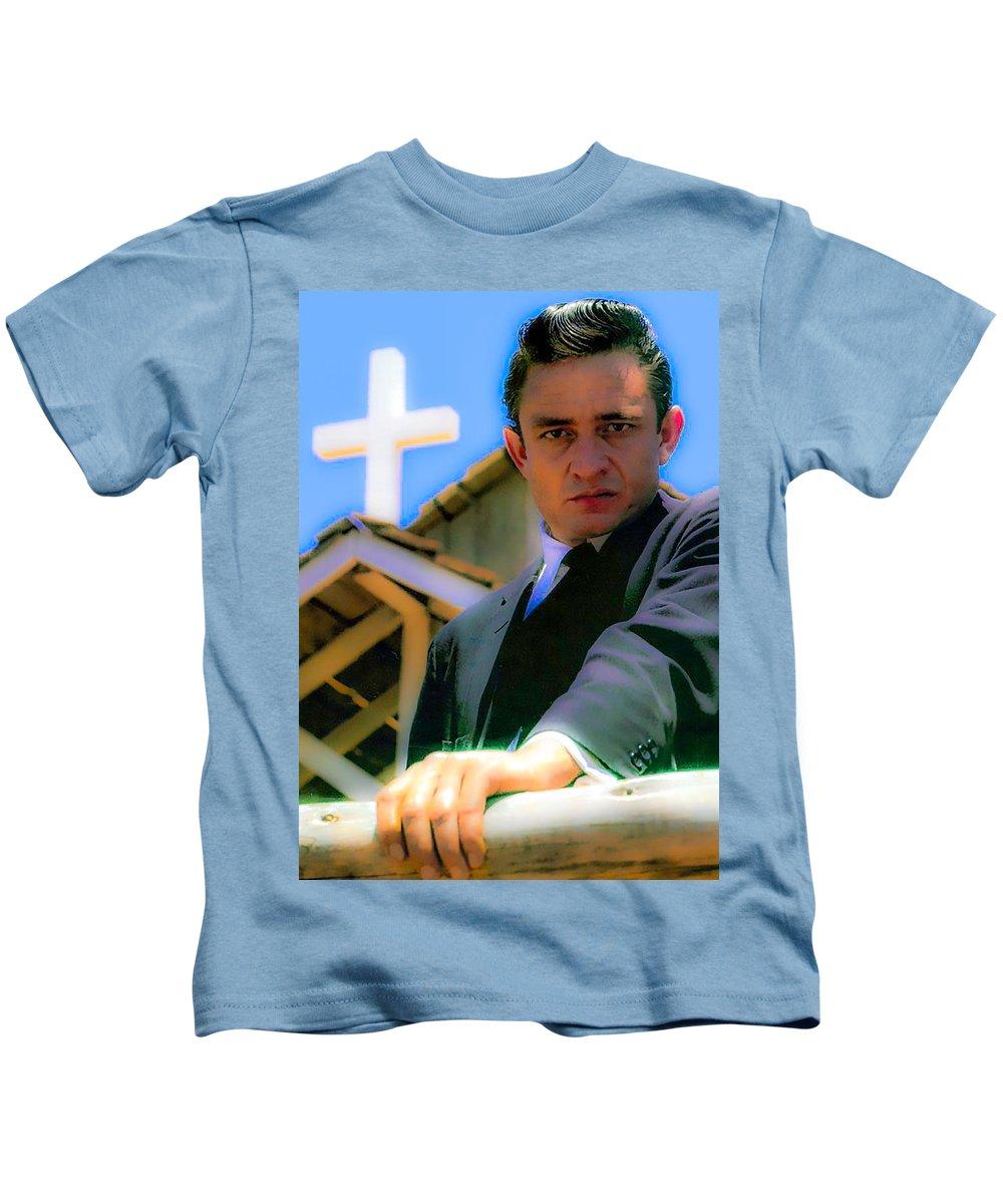 Johnny Cash Kids T-Shirt featuring the photograph Johnny Cash 1961 by Craig David Morrison