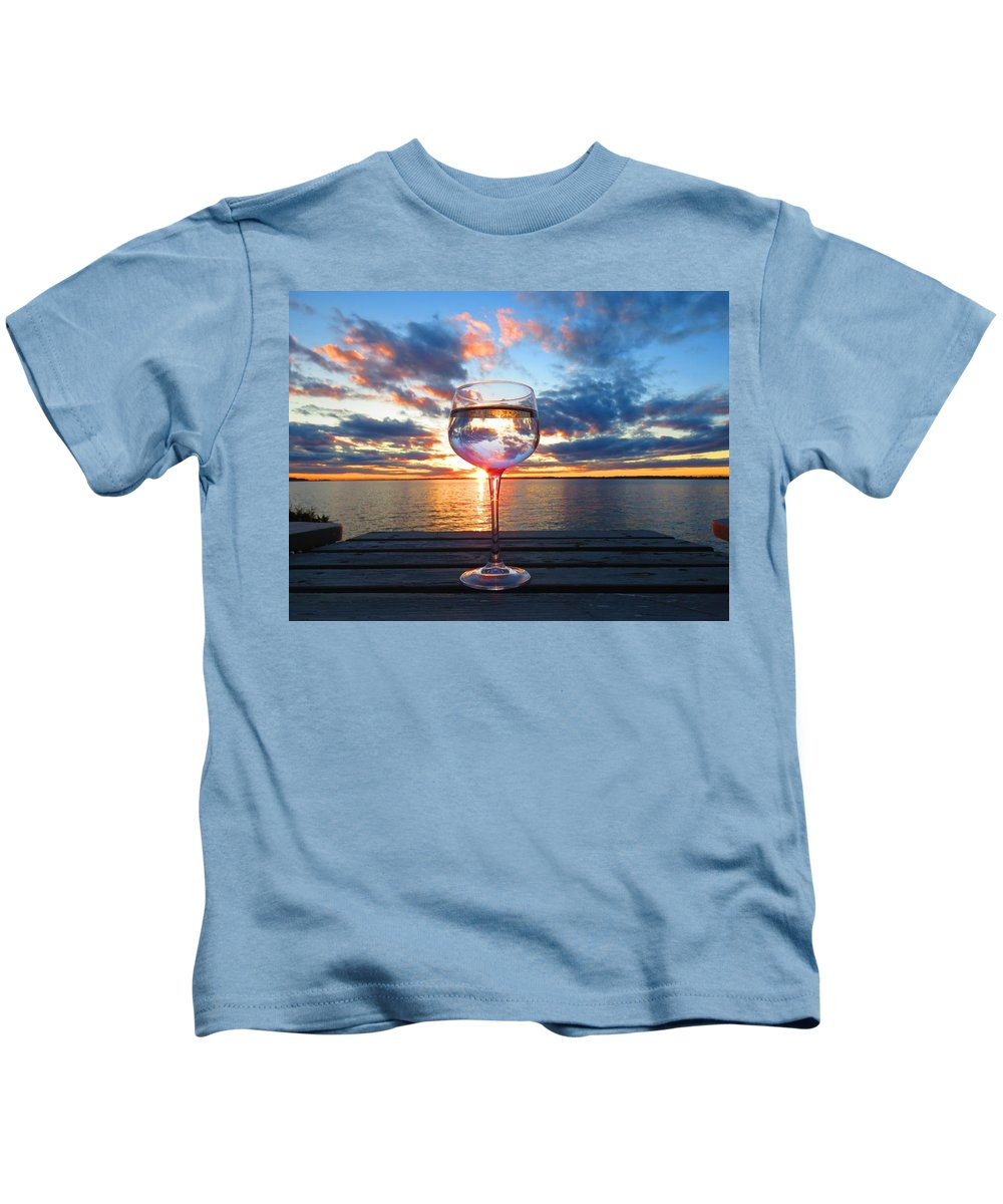 1000 Islands Kids T-Shirt featuring the photograph June Sunset Over Wolfe Island by Dennis McCarthy