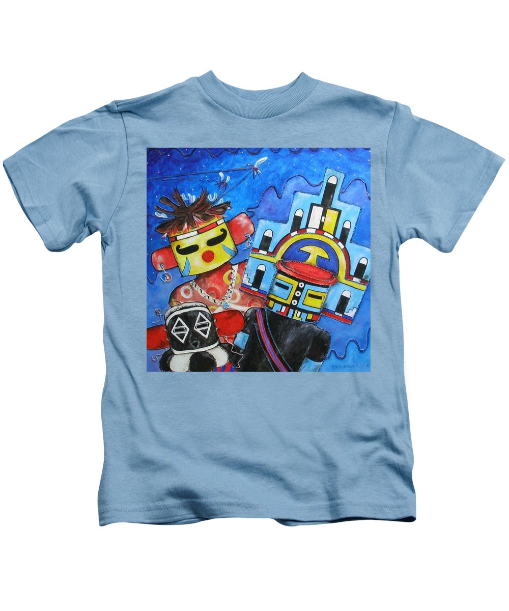 Native Kids T-Shirt featuring the painting Kachina Knights by Elaine Booth-Kallweit