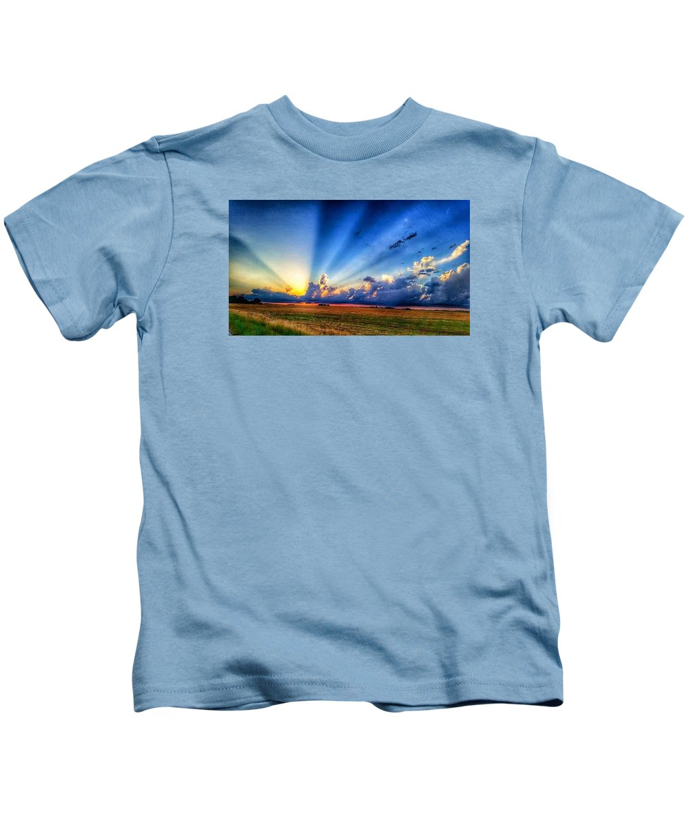 Kids T-Shirt featuring the photograph Kansas Country Sunset by Tim Clark