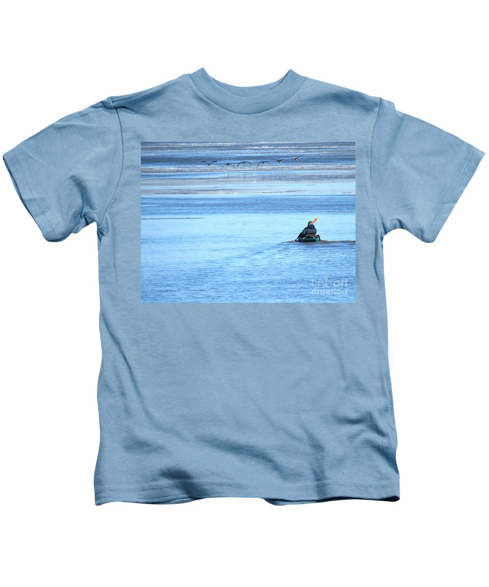Geese Kids T-Shirt featuring the photograph Kayaker And Geese by Sharon Weiss