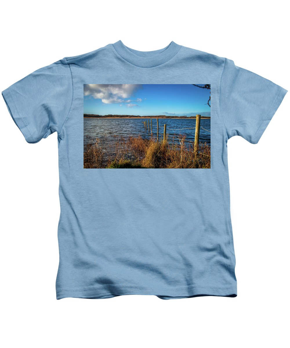 Kenfig Pool Kids T-Shirt featuring the photograph Kenfig Pool In Wales by Stephen Jenkins