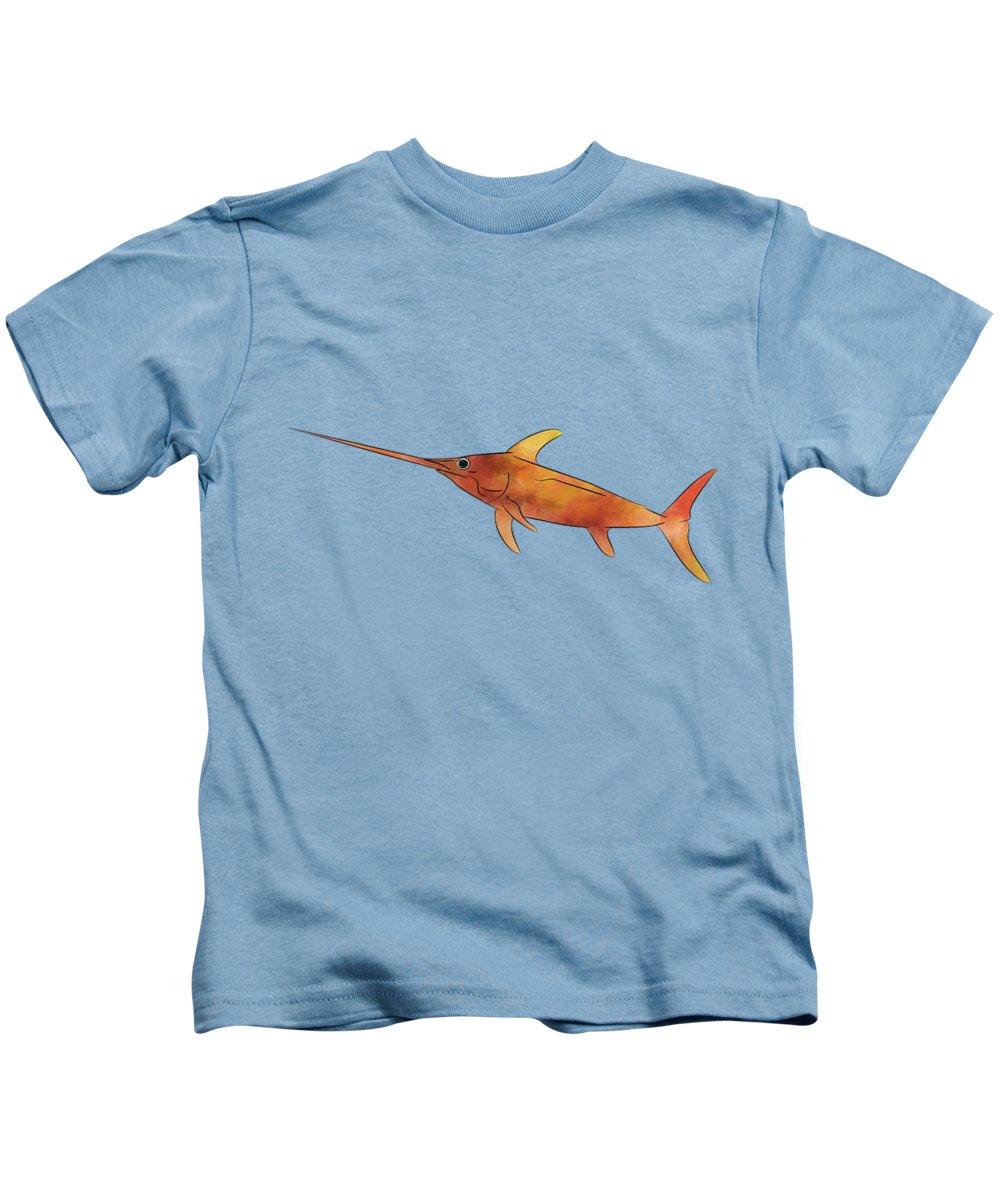Swordfish Kids T-Shirt featuring the painting Kessonius V1 - Amazing Swordfish by Cersatti