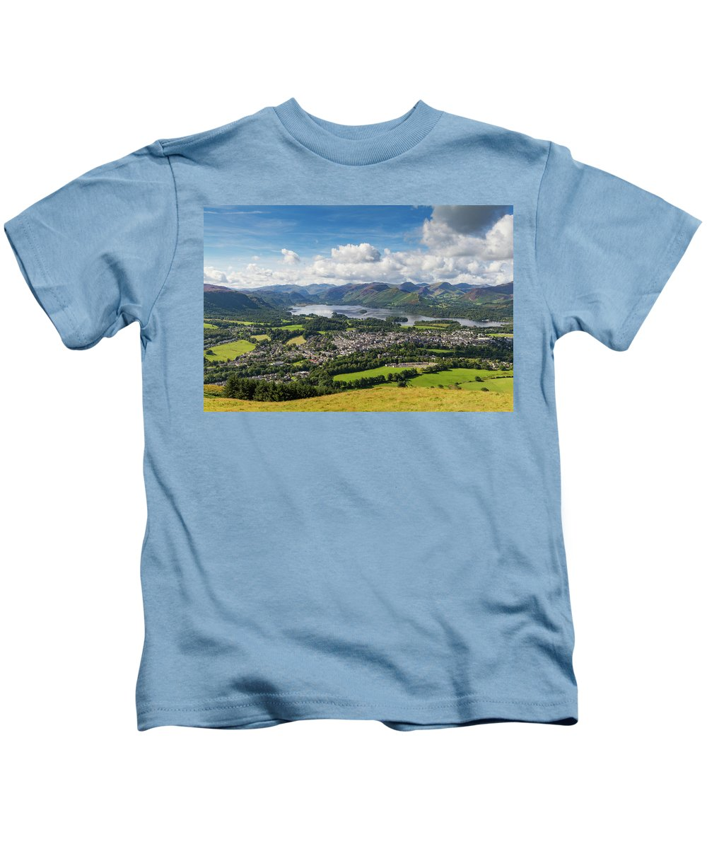Cumbria Lake District Kids T-Shirt featuring the photograph Keswick And Derwent Water View From Latrigg by Iordanis Pallikaras