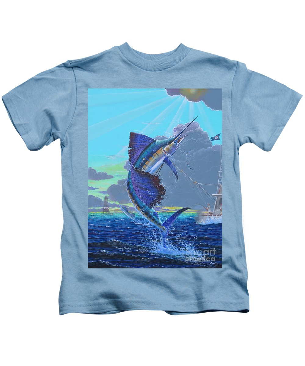 Sailfish Kids T-Shirt featuring the painting Key Sail Off0040 by Carey Chen