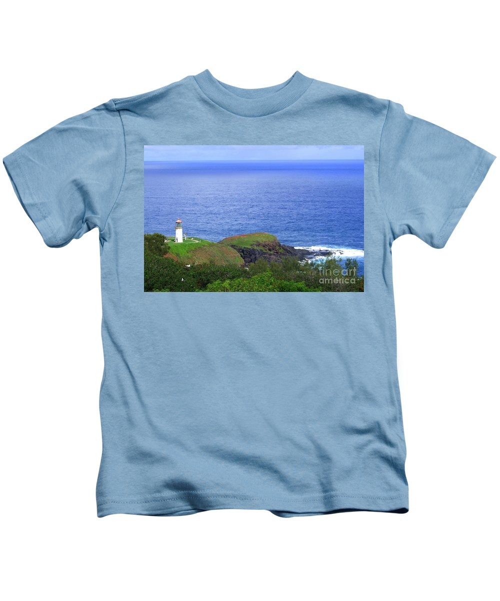 Lighthouse Kids T-Shirt featuring the photograph Kilauea Lighthouse by Mary Deal