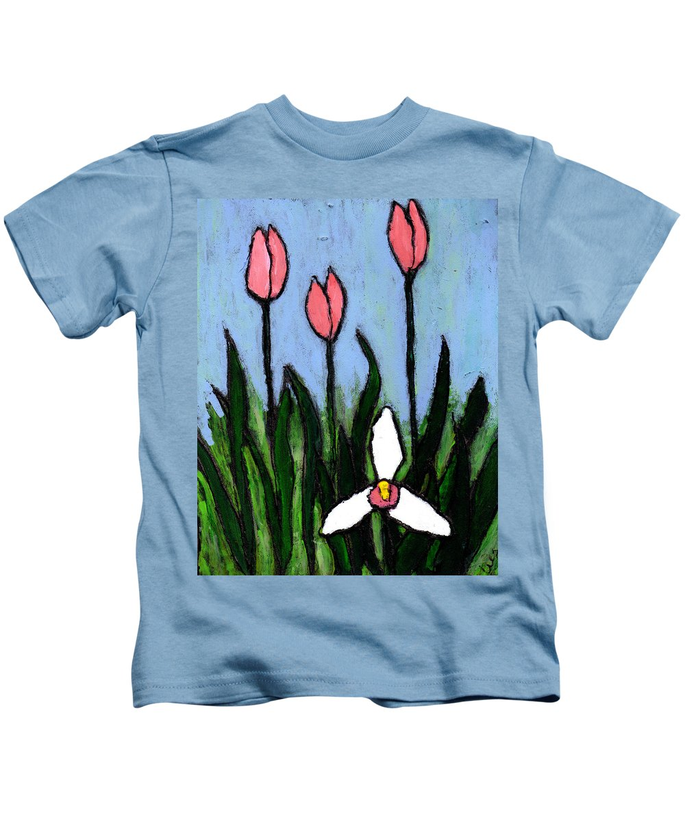 Flowers Kids T-Shirt featuring the painting Lady Slipper And Court by Wayne Potrafka