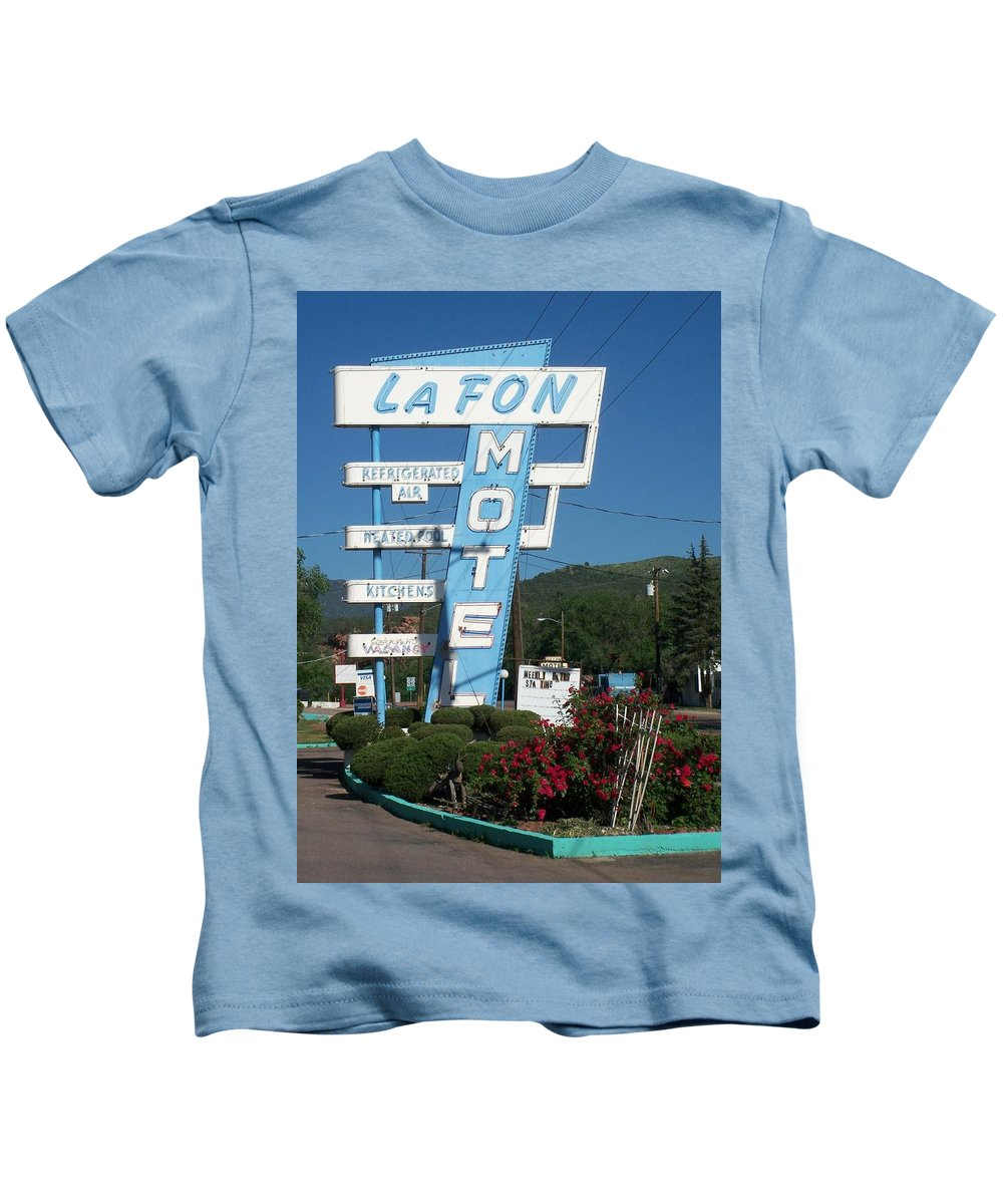 Vintage Motel Signs Kids T-Shirt featuring the photograph Lafon Motel by Anita Burgermeister
