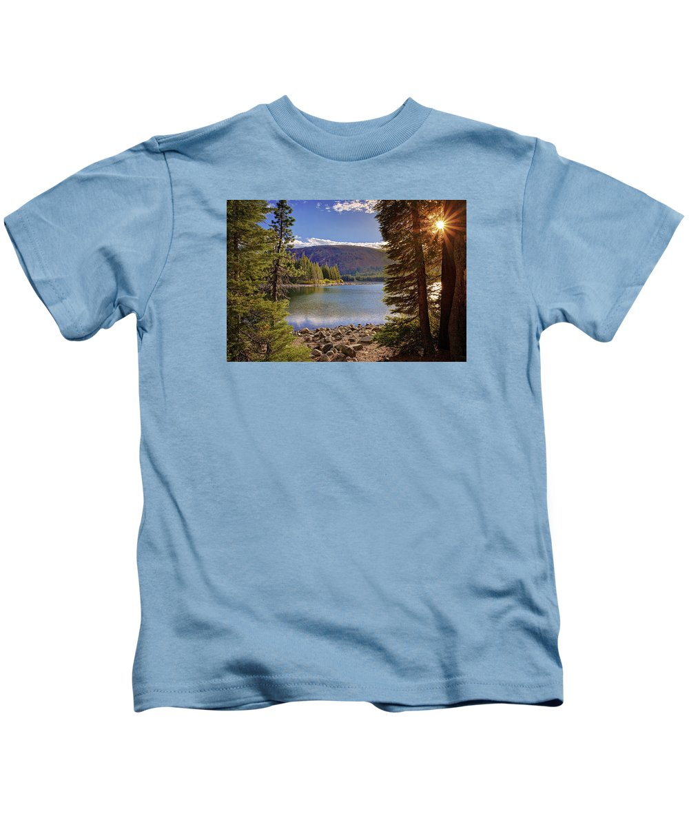 Lake Mary Kids T-Shirt featuring the photograph Lake Mary Forest Star by Lynn Bauer