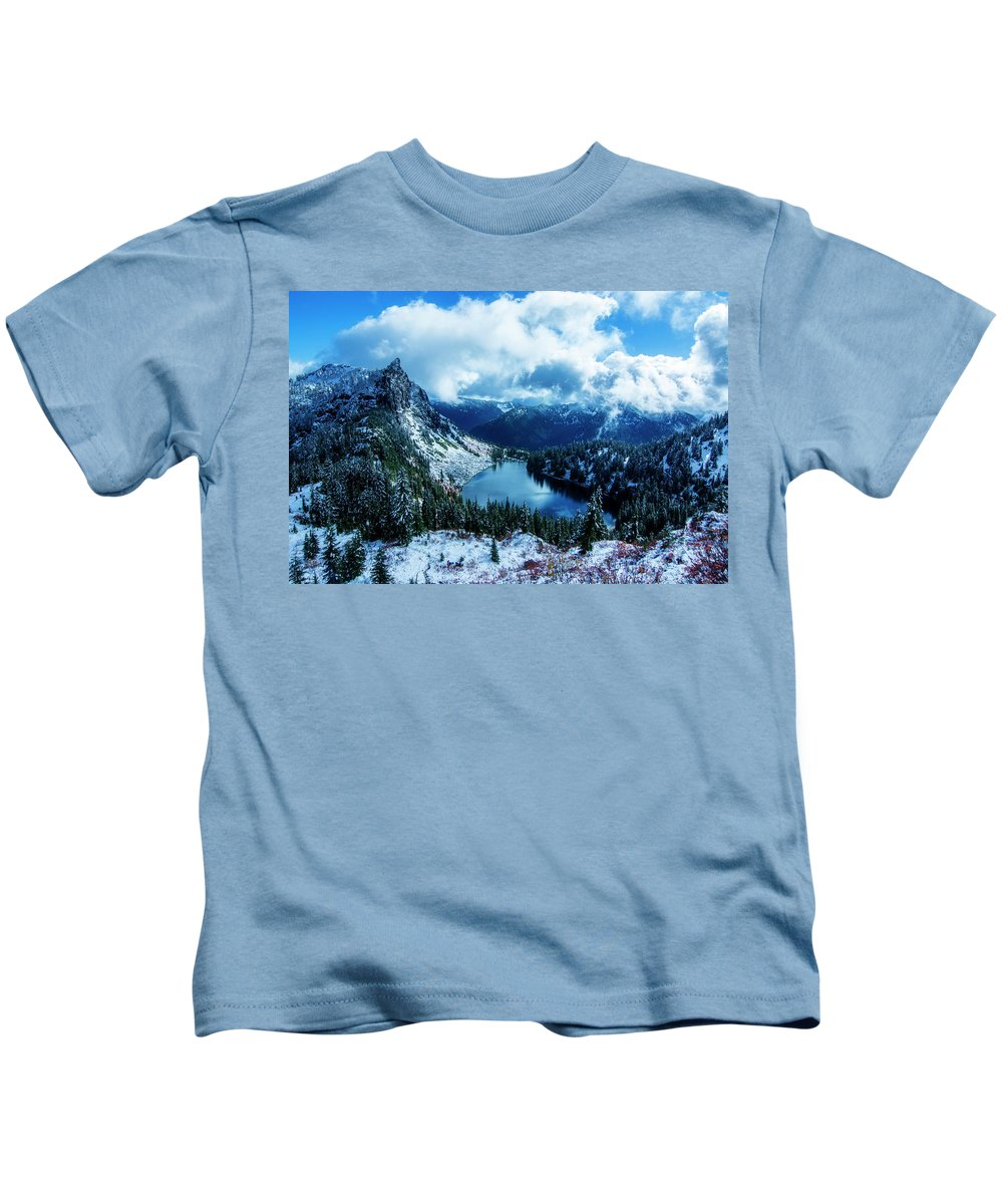 Washington State Pacific Northwest Hike Hiking Wilderness Outside Pnw Outdoors Pacific Northwest Explore Mountain Mountains View Views Quest Live Authentic Outbound Trees Love Beautiful Happy Fun Art Smile Style Amazing Cool Awesome Adventure Lichtenberg Snow Winter Lake Valhalla Kids T-Shirt featuring the photograph Lake Valhalla by Pelo Blanco Photo