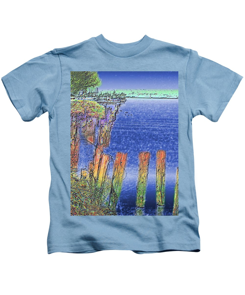 Seattle Kids T-Shirt featuring the photograph Lakeside Pilings by Tim Allen