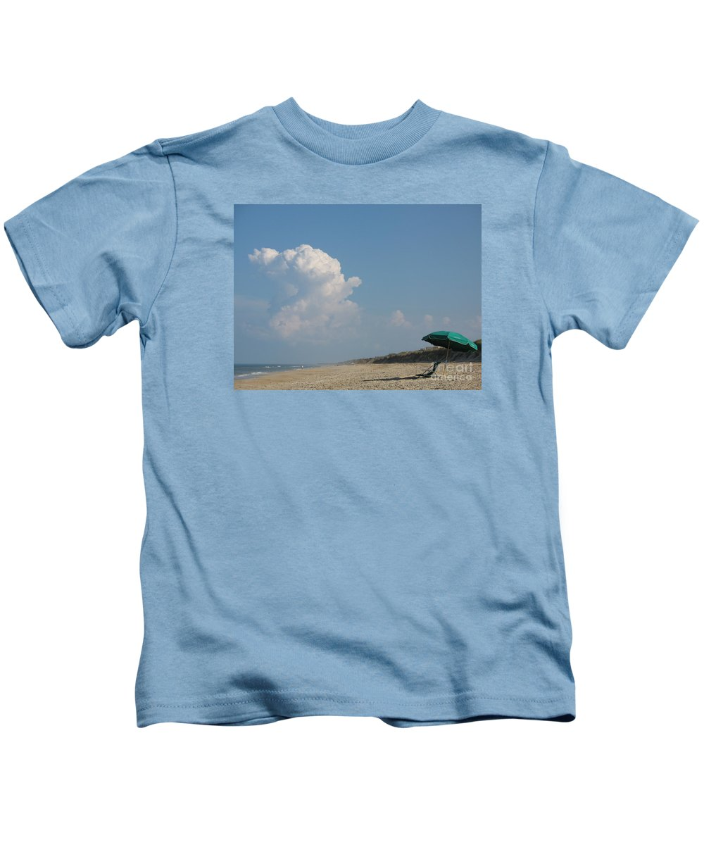 Beachchair Kids T-Shirt featuring the photograph Left Alone by Christiane Schulze Art And Photography