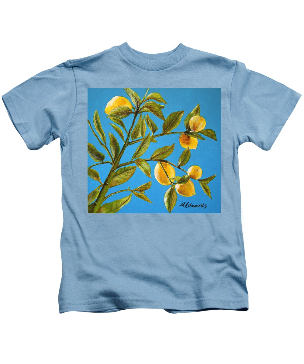 Lemons Kids T-Shirt featuring the painting Lemon Tree by Marna Edwards Flavell