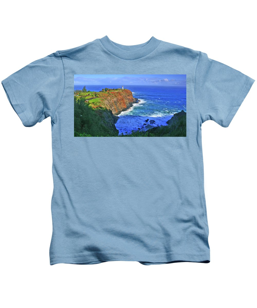 Lighthouse Kids T-Shirt featuring the photograph Lighthouse On The Hill by Scott Mahon