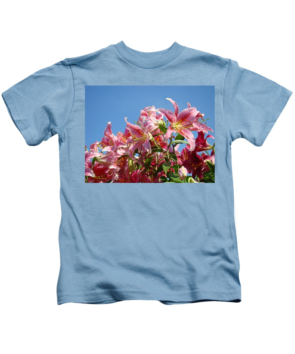 Lilies Kids T-Shirt featuring the photograph Lilies Pink Lily Flowers Art Prints Floral Summer Garden Baslee Troutman by Baslee Troutman