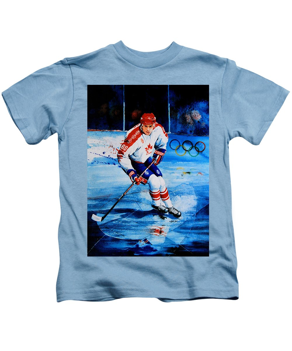 Sports Art Kids T-Shirt featuring the painting Lindros by Hanne Lore Koehler