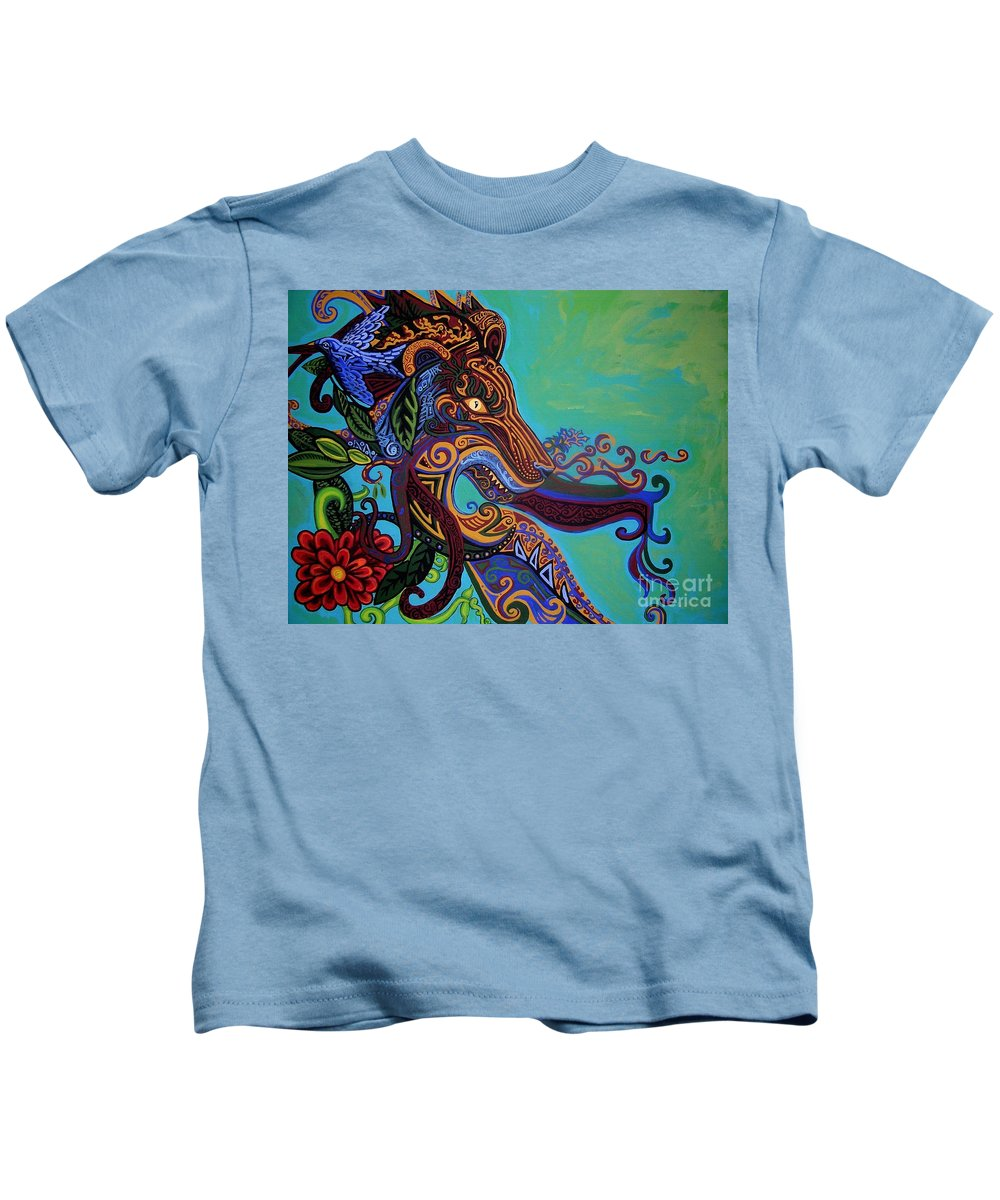 Gargoyle Lion Kids T-Shirt featuring the painting Lion Gargoyle by Genevieve Esson