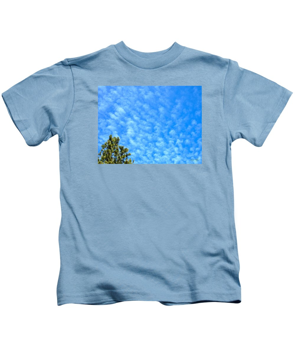 Tree Clouds Sky Colorado Zen Nature Simple Blue Rocky Mountains Kids T-Shirt featuring the photograph Little Clouds by George Tuffy