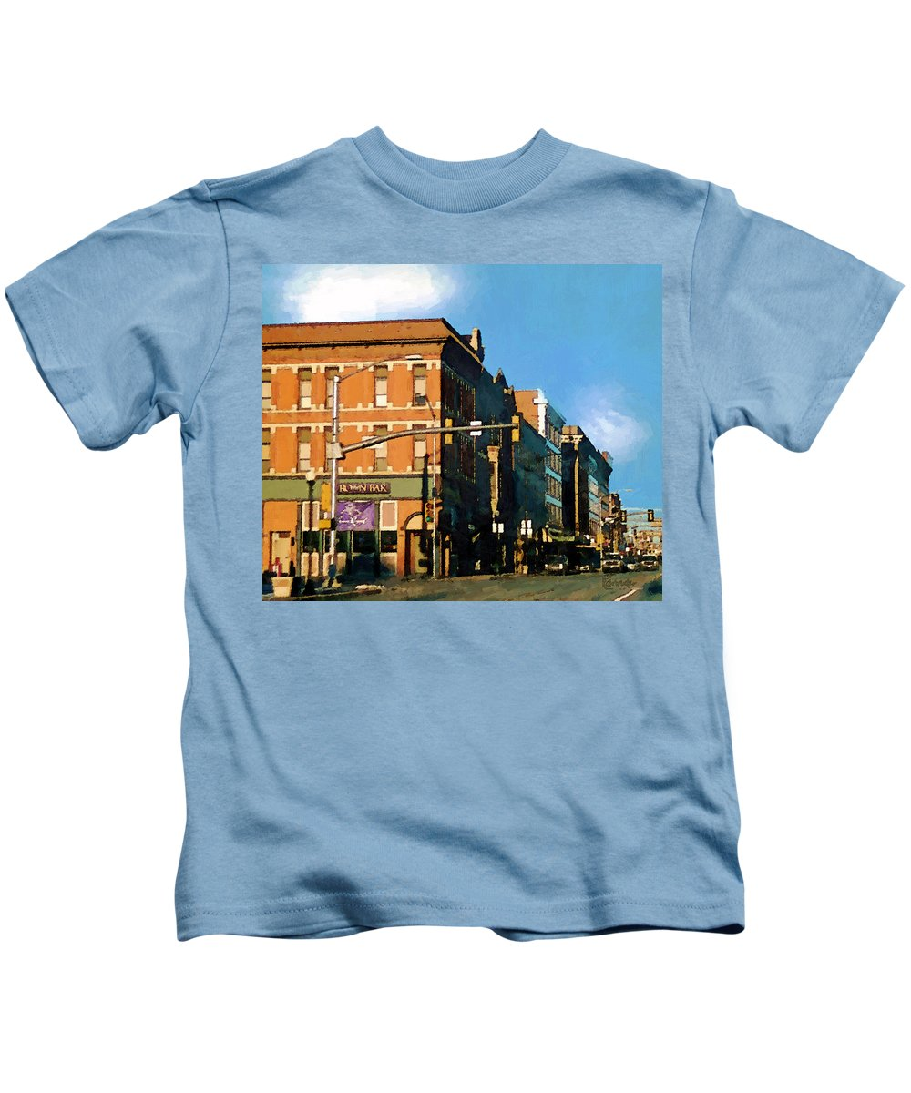 Buildings Kids T-Shirt featuring the painting Looking Up Main Street by RC DeWinter