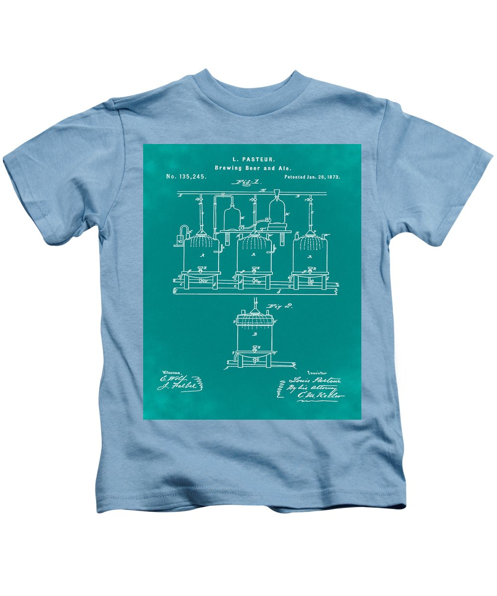 Louis Kids T-Shirt featuring the photograph Louis Pasteur Brewing Beer And Ale Patent 1873 Green by Bill Cannon