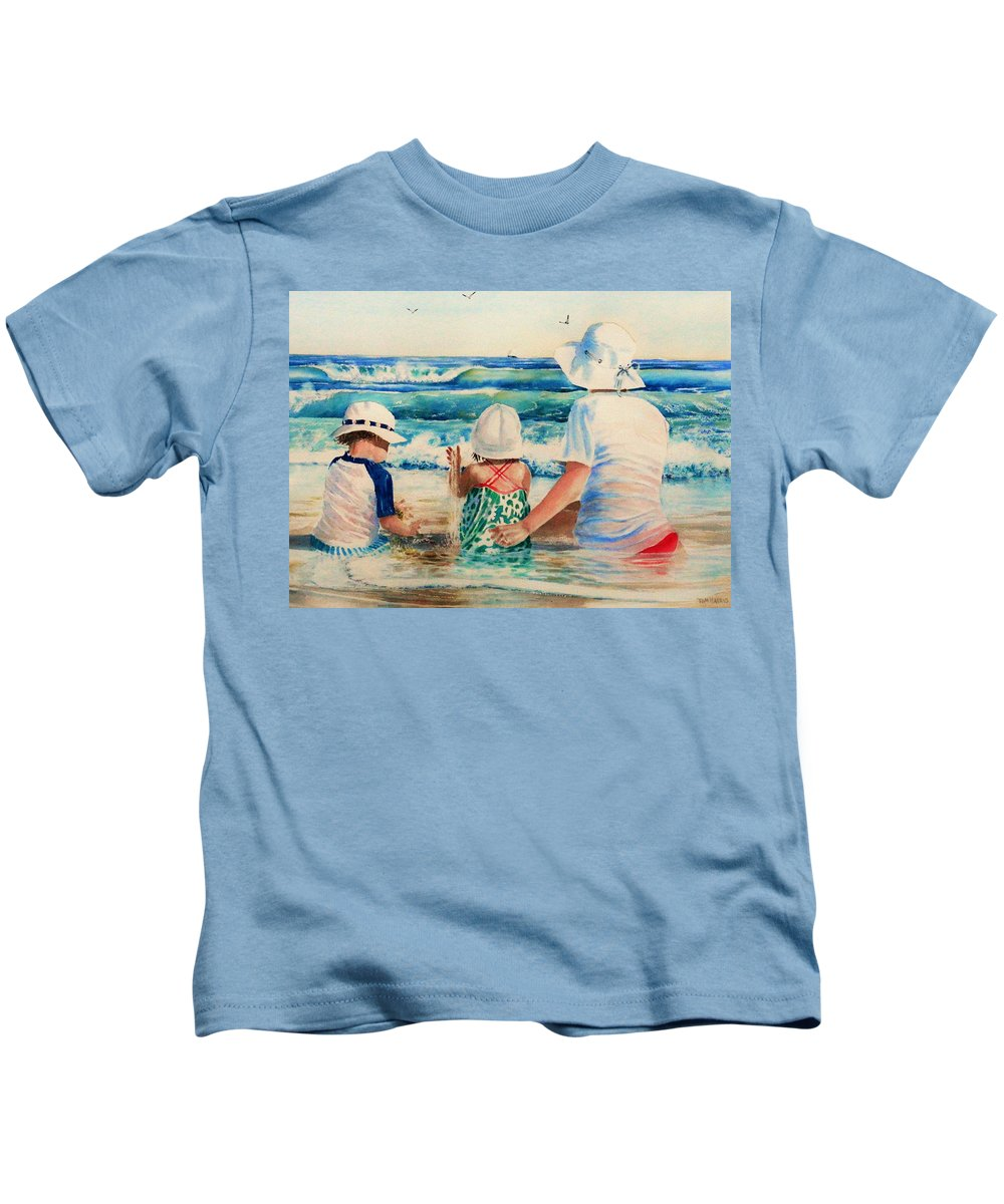 Beach Kids T-Shirt featuring the painting Low Tide by Tom Harris