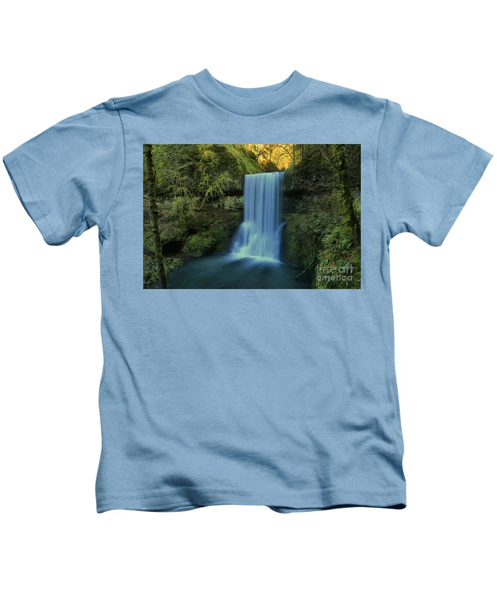 Lower South Falls Kids T-Shirt featuring the photograph Lower South Falls Landscape by Adam Jewell