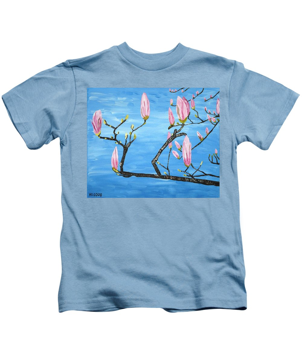 Magnolia Kids T-Shirt featuring the painting Magnolia Blossom by Valerie Ornstein