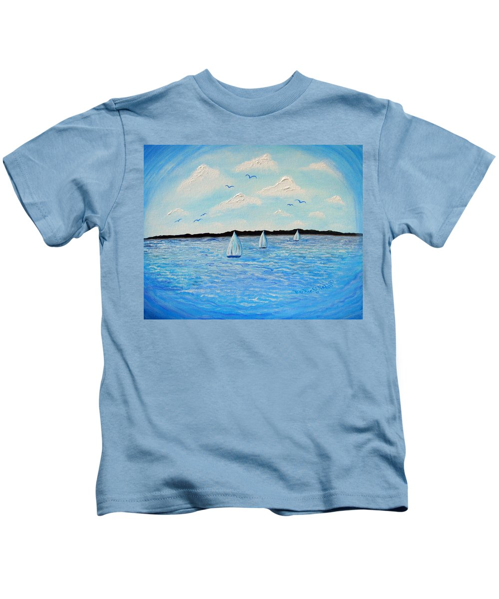 Mainland Kids T-Shirt featuring the painting Mainland by Beckie Neff