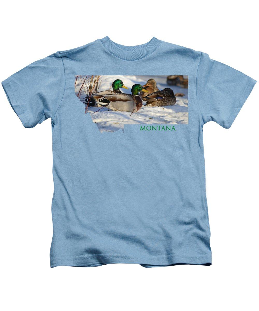 Mallard Kids T-Shirt featuring the photograph Mallard Montana by Whispering Peaks Photography