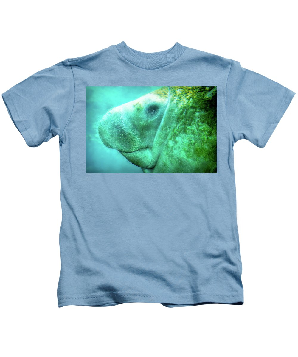 Animal Kids T-Shirt featuring the photograph Manatee by Rich Leighton