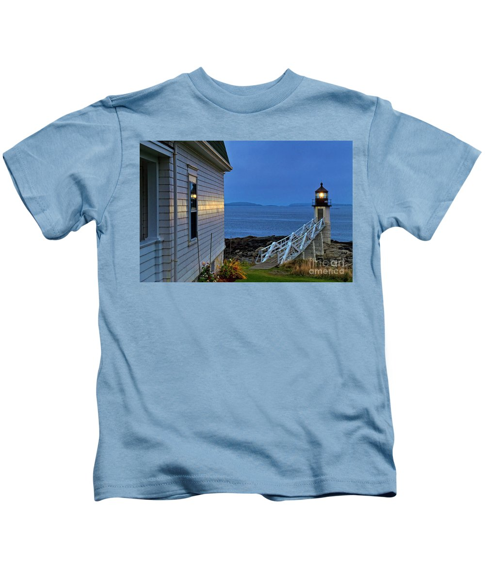 Maine Kids T-Shirt featuring the photograph Marshall Point Lighthouse by John Greim