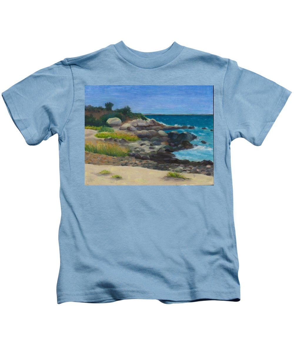 Landscape Kids T-Shirt featuring the painting Meigs Point by Paula Emery
