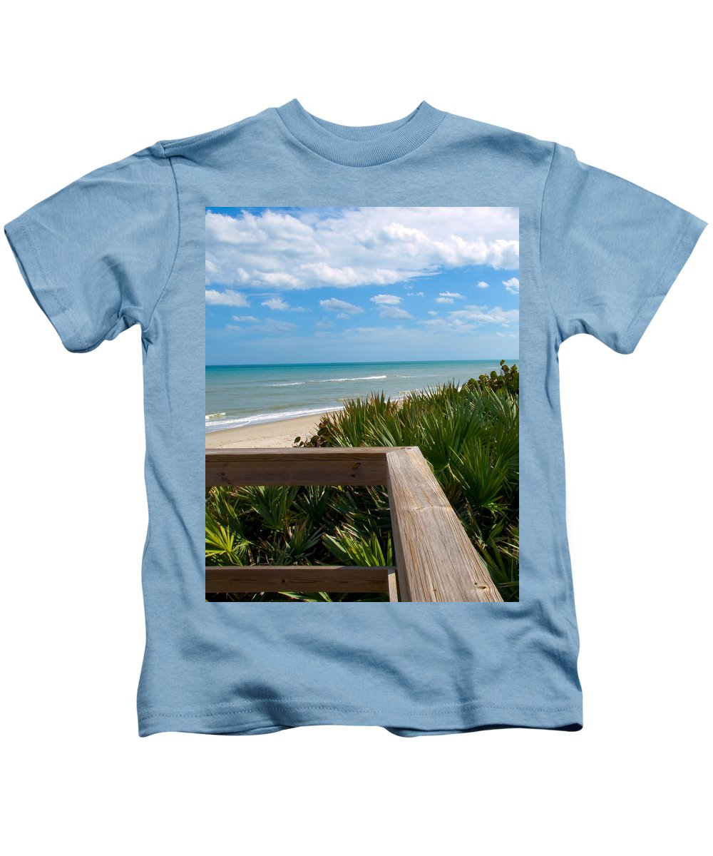 Beach; February; Florida; Warm; Warmth; Temperature; Degrees; Weather; Sun; Melbourne; Sand; Shore; Kids T-Shirt featuring the photograph Melbourne Beach In Florida by Allan Hughes