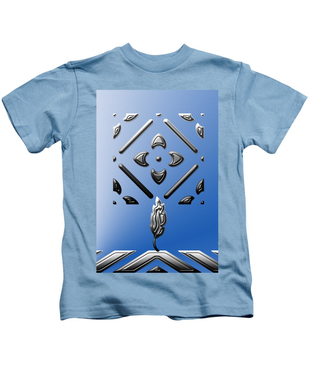 Abstract Kids T-Shirt featuring the digital art Metallic Blue by Aimee L Maher ALM GALLERY