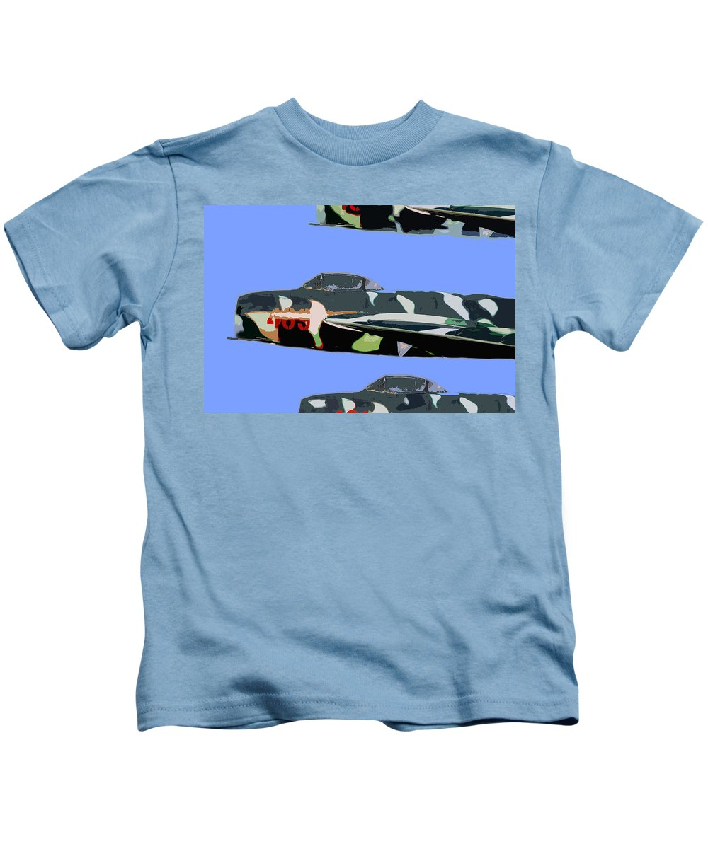 Mig Kids T-Shirt featuring the painting Migs In Formation by David Lee Thompson