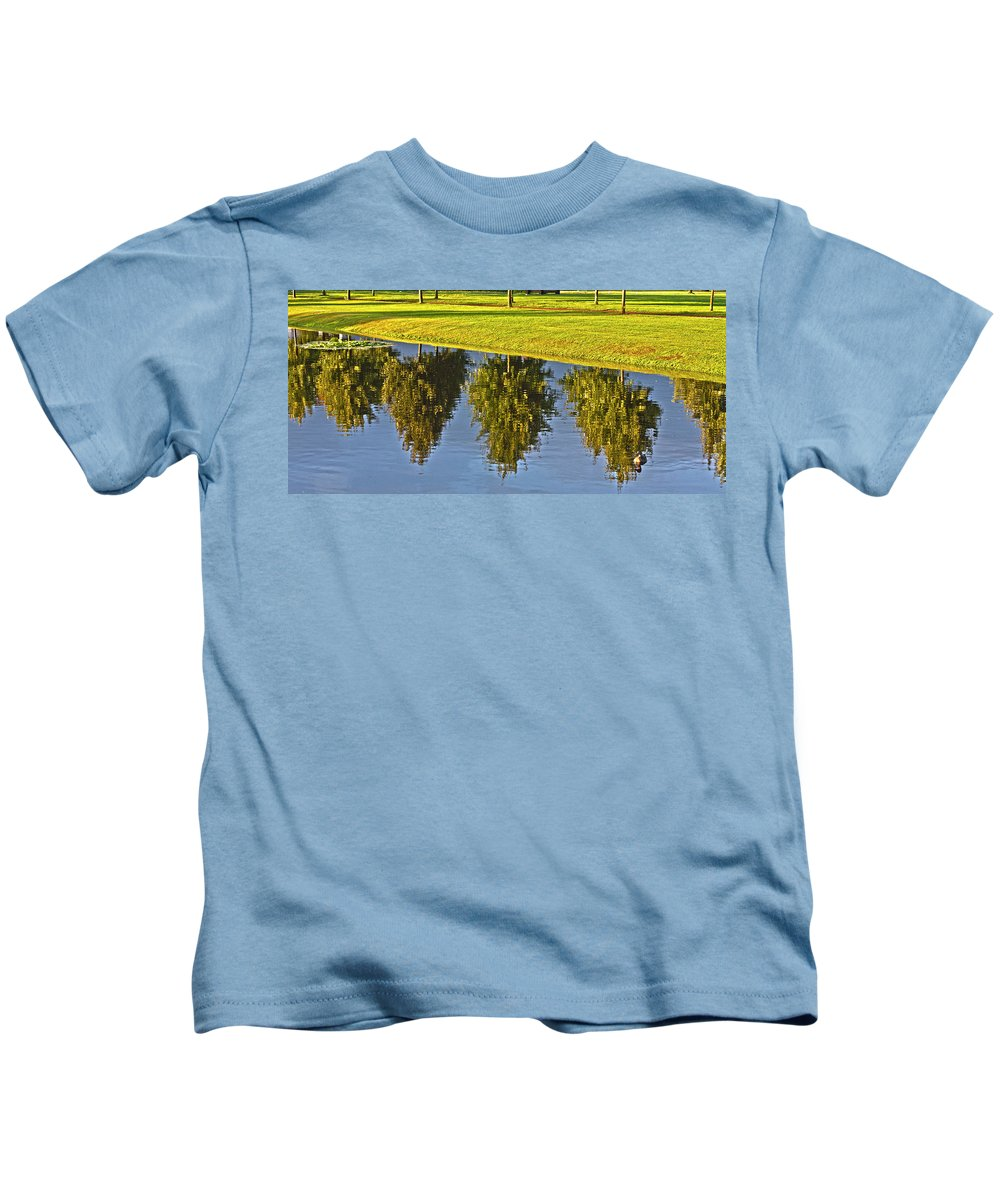 Tree Kids T-Shirt featuring the photograph Mirroring Trees by Heiko Koehrer-Wagner