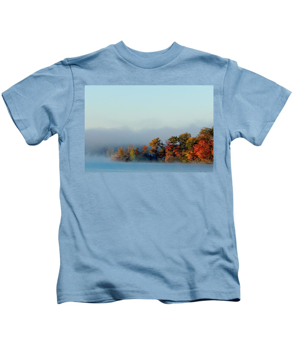 Fall Kids T-Shirt featuring the photograph Misty Autumn by JoAnne Burgess
