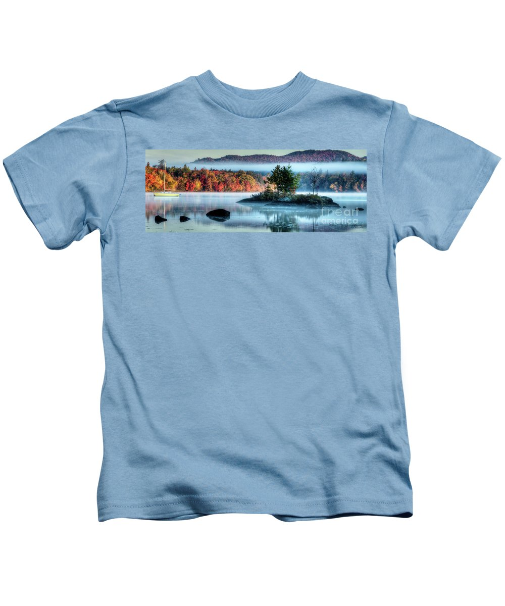 Umbagog Lake Kids T-Shirt featuring the photograph Misty Umbagog by John Sandiford