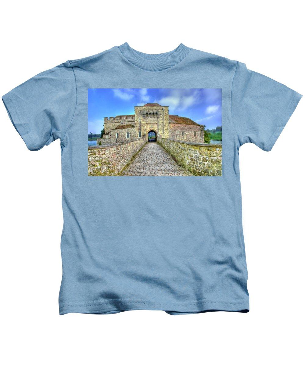Leeds Castle Kids T-Shirt featuring the photograph Moat House Leeds Castle by Chris Thaxter