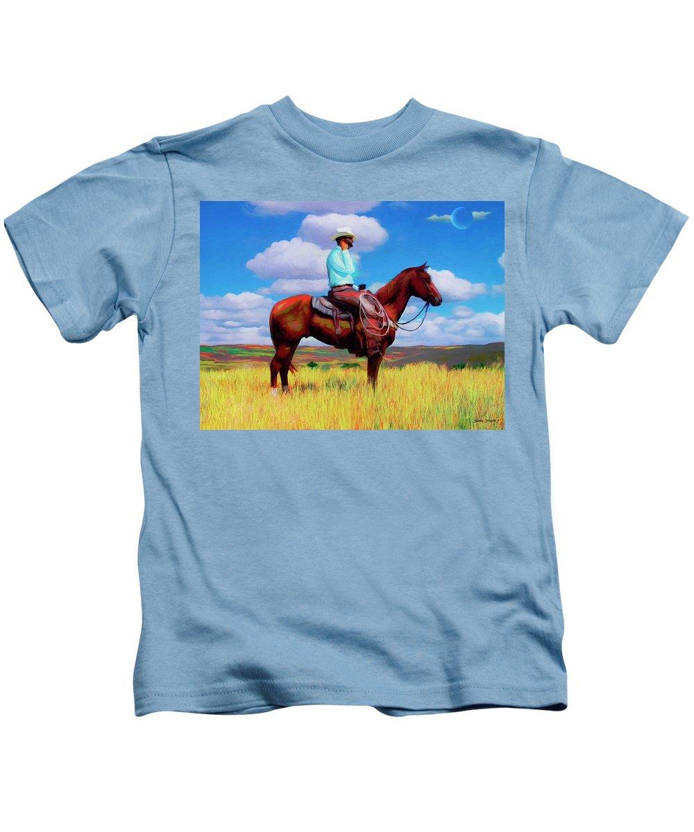 Cowboy Kids T-Shirt featuring the digital art Modern Cowboy by Snake Jagger