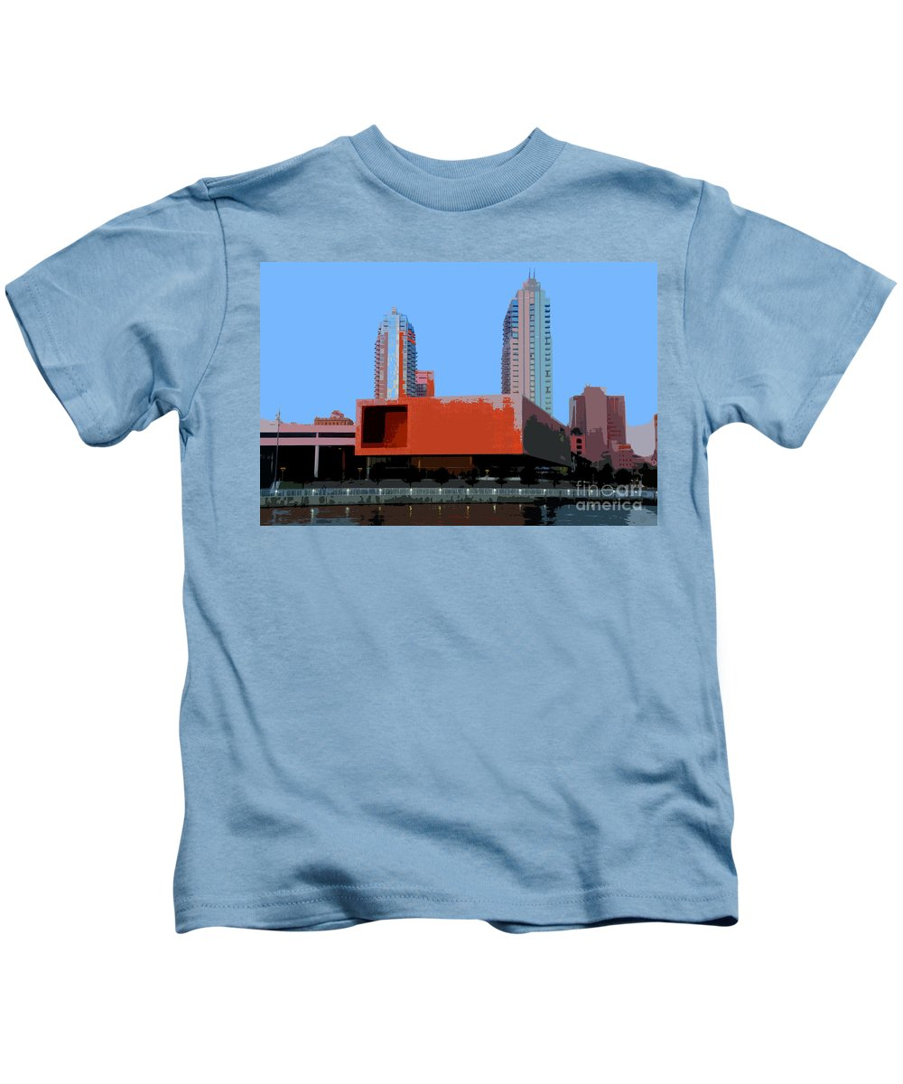 Tampa Florida Kids T-Shirt featuring the painting Modern Tampa by David Lee Thompson
