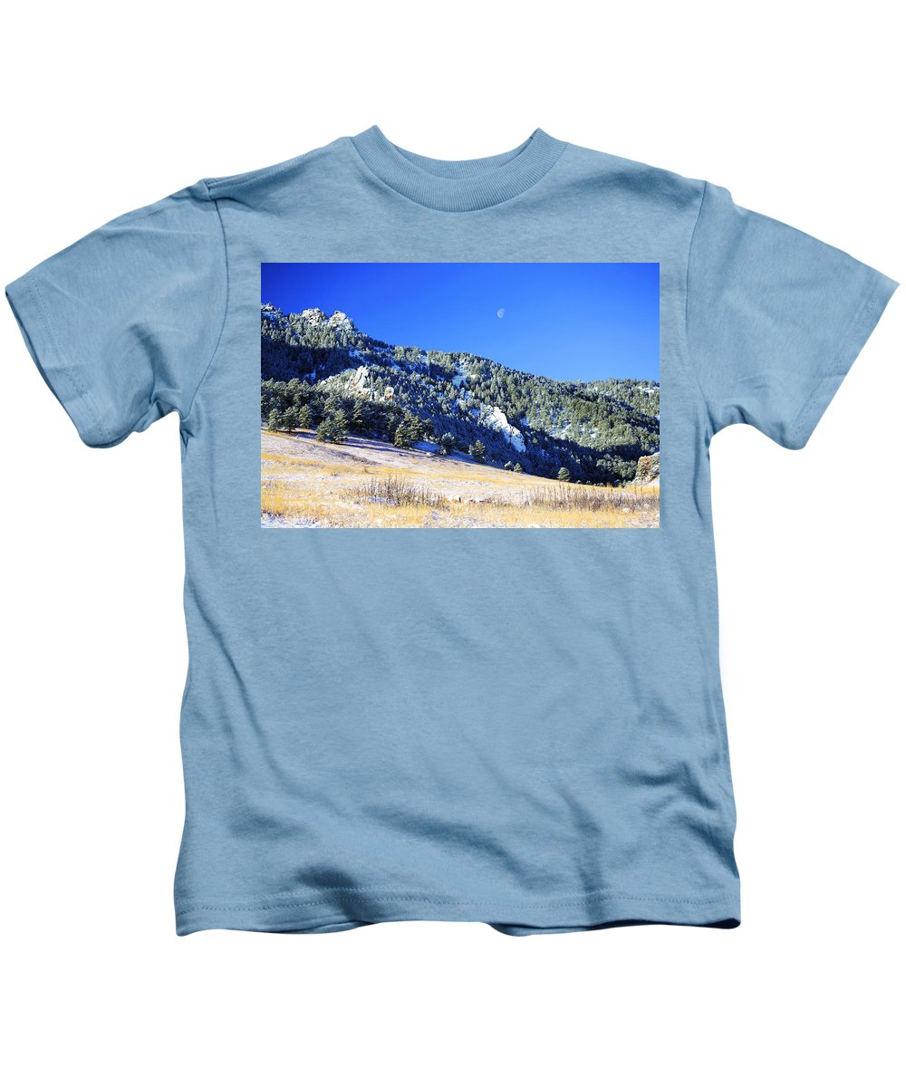 Colorado Kids T-Shirt featuring the photograph Moon Over Chautauqua by Marilyn Hunt