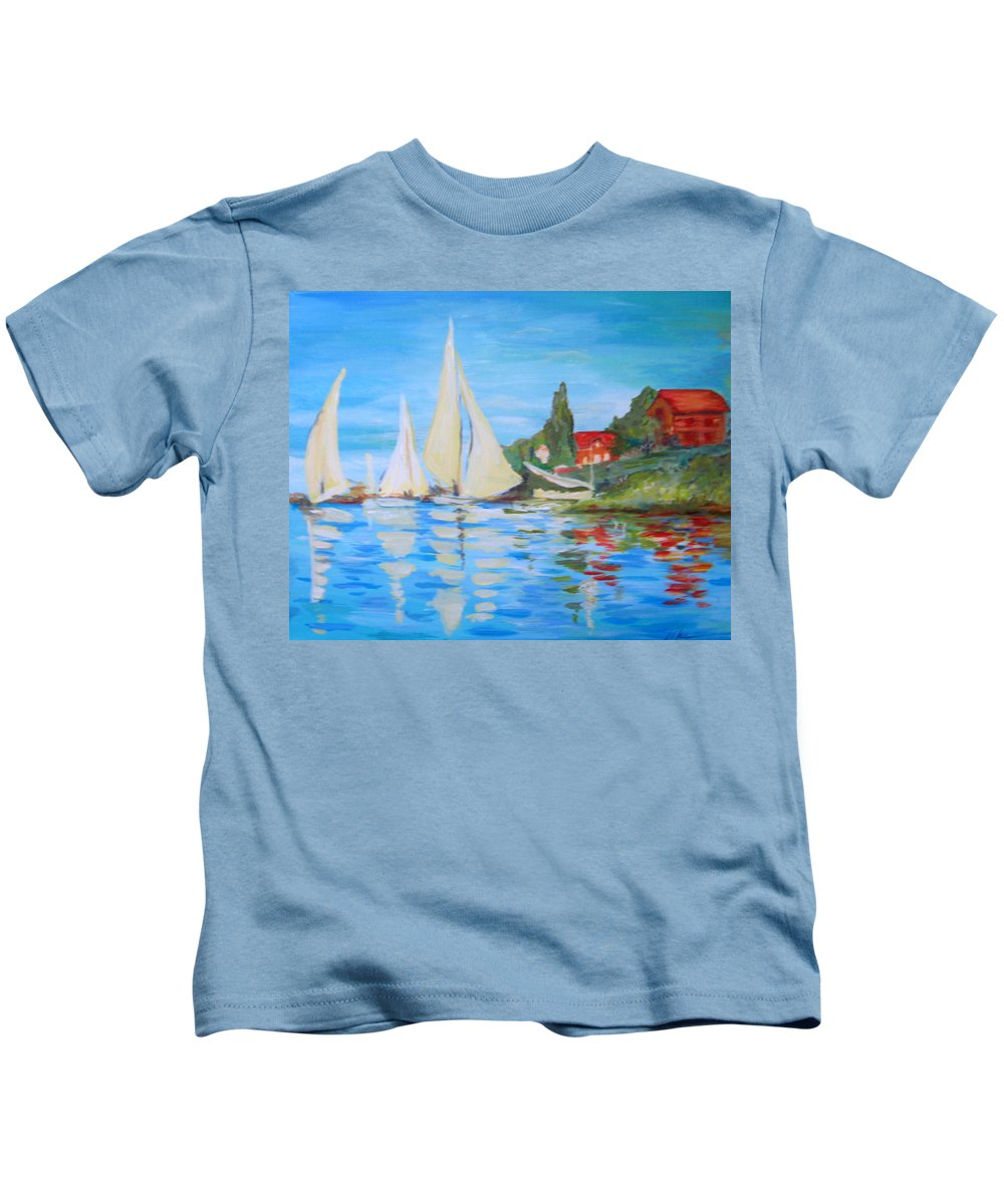 Sailboats Kids T-Shirt featuring the painting More Of Monet by Melody Horton Karandjeff