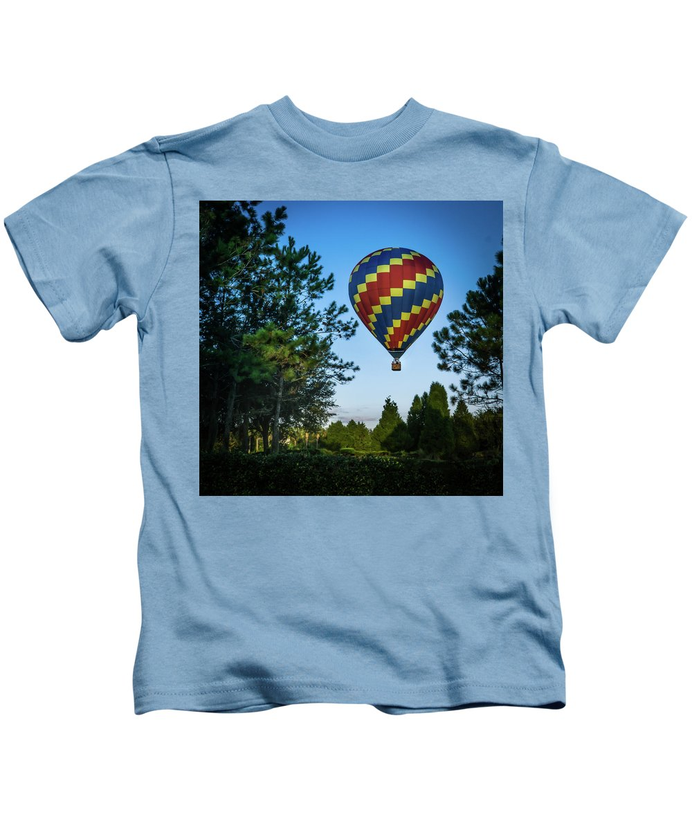 Balloon Kids T-Shirt featuring the photograph Morning Takeoff by David Lockwood
