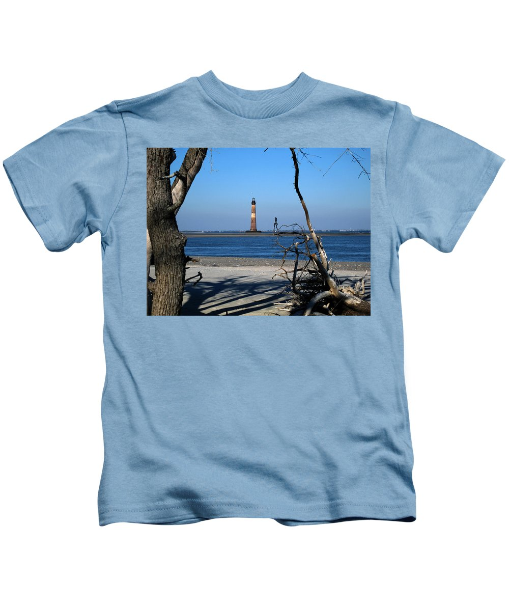 Photography Kids T-Shirt featuring the photograph Morris Island Lighthouse Charleston Sc by Susanne Van Hulst