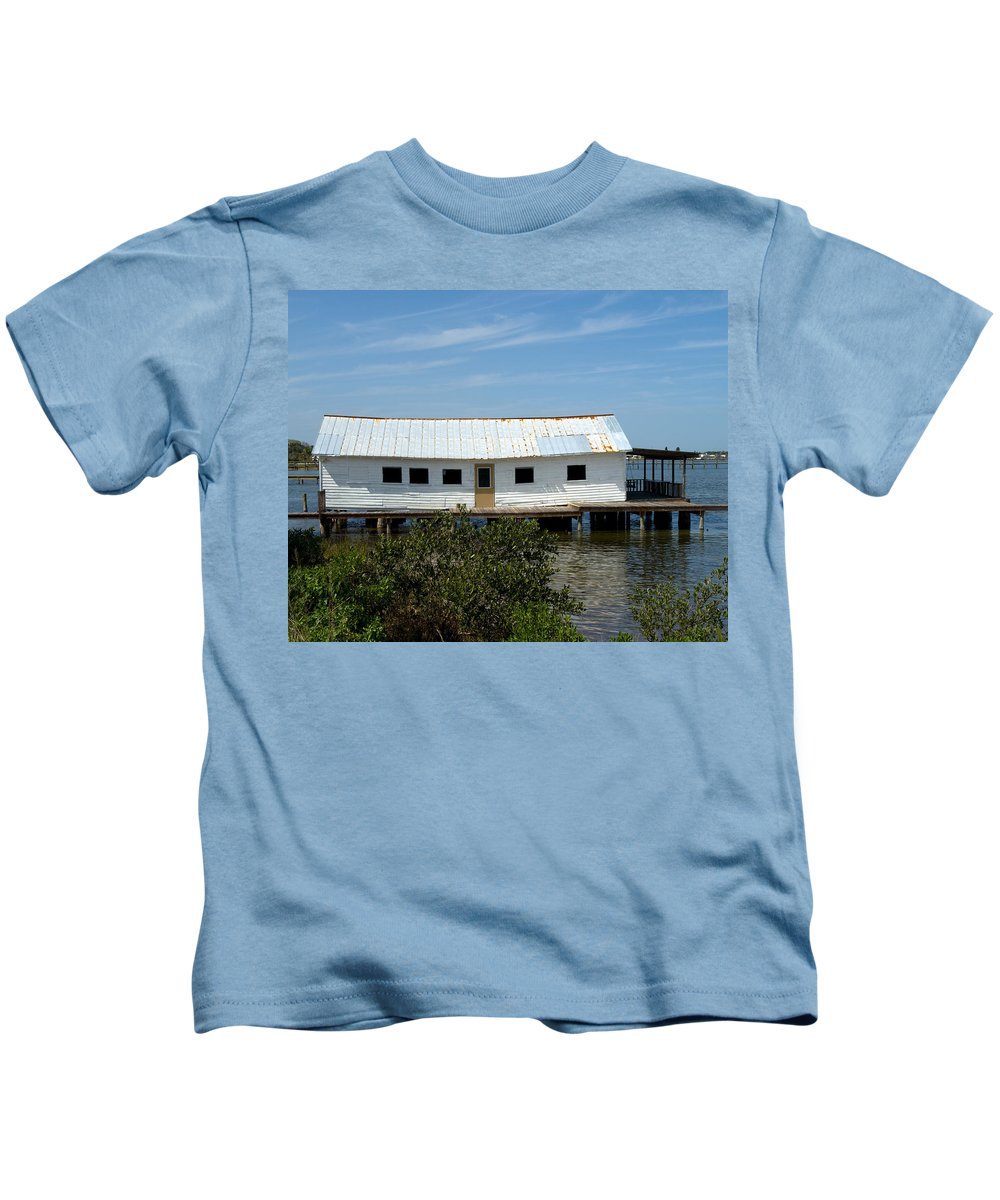 Florida; Oak; Hill; Mosquito; Lagoon; Old; Abandoned; Fish; House; Processing; Dock; Pier; Wharf; Bo Kids T-Shirt featuring the photograph Mosquito Lagoon Florida by Allan Hughes